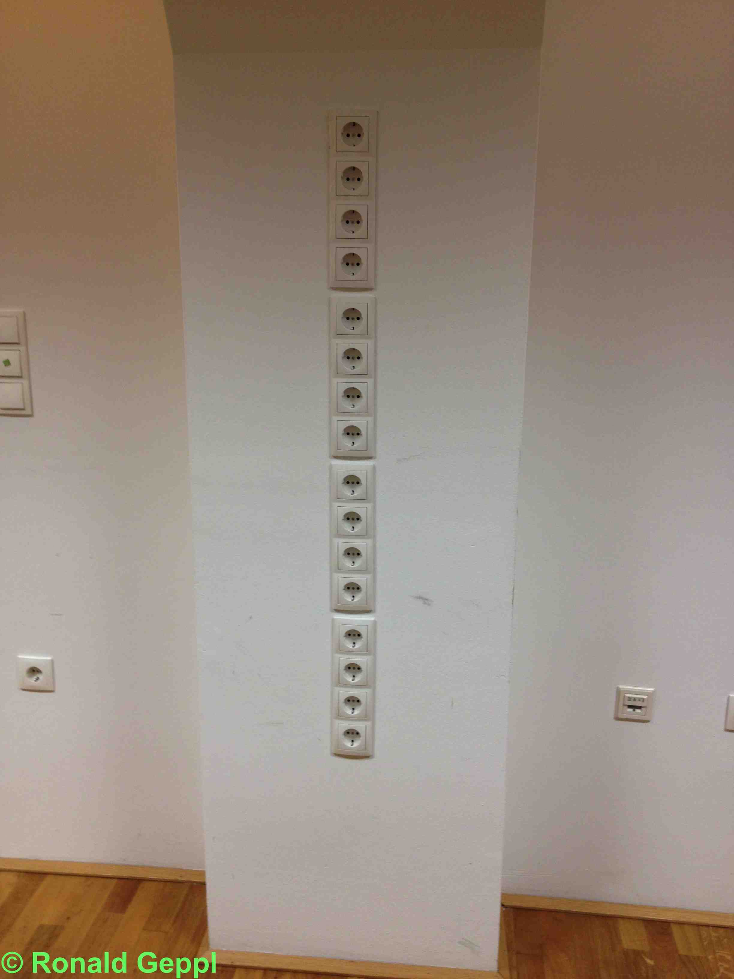 Eine Reihe von Steckdosen